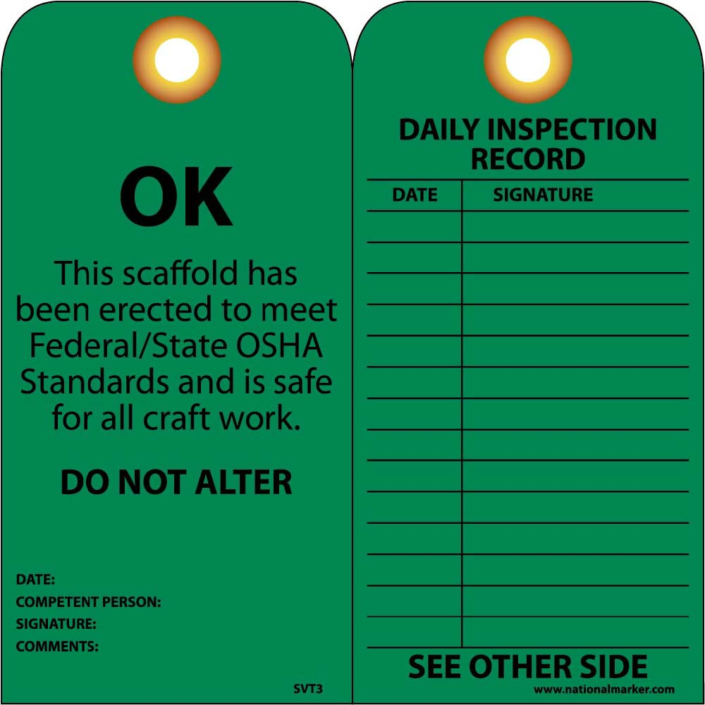 Ok This Scaffold Has Been Erected To Meet Federal/State Osha Standards Tag - Pack of 25