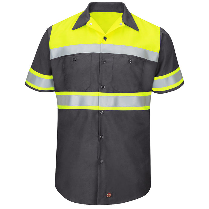 Red Kap Hi-Visibility Colorblock Ripstop Work Shirt - Type O, Class 1