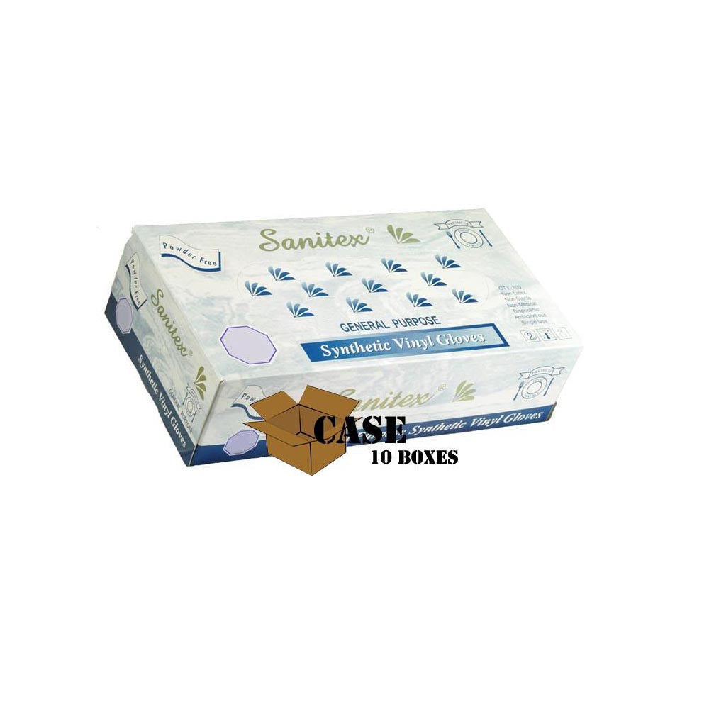 Sanitex - Disposable Vinyl Gloves, Powder Free - Case