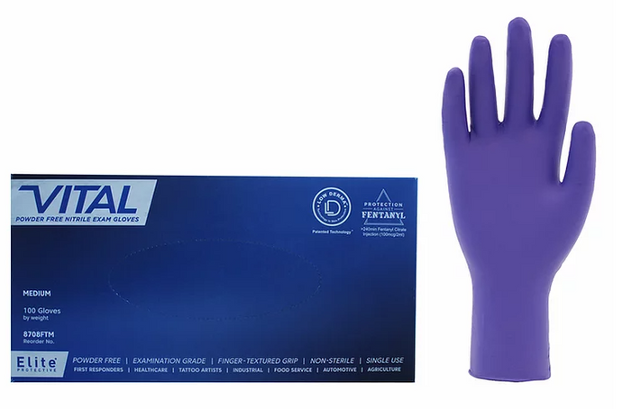 Johnson Wishire -Elite® Vital® Blue Nitrile Powder Free - 5 Mil - Protection Against Fentanyl