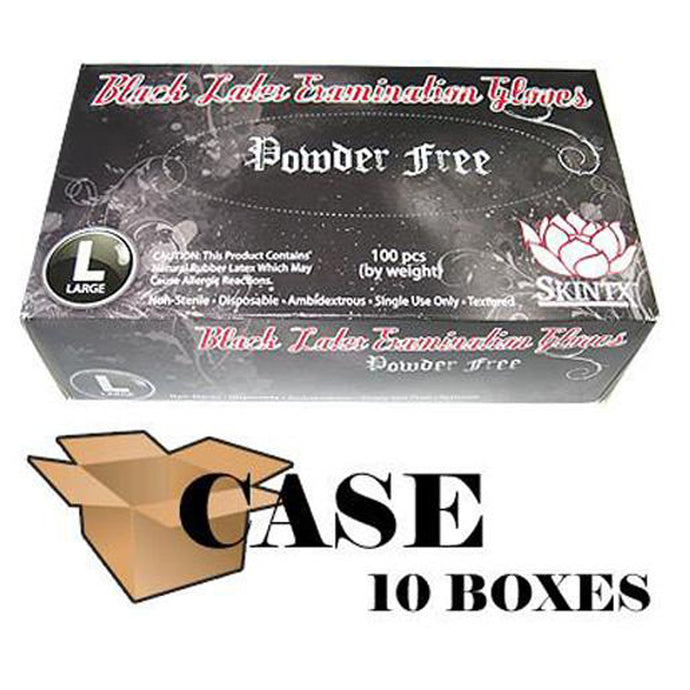 Skintx - Black Latex Powder Free  Gloves - Case
