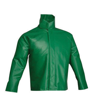 "Tingley Large 31"" Green SafetyFlex 17 mil PVC And Polyester Rain Jacket With Snap And Storm Flap Closure"