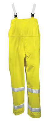 Tingley X-Large Fluorescent Yellow/Green Comfort-Brite 14 mil PVC And Polyester Class E Level 2 Flame Resistant Rain Bib Overalls With Fly Front And Snap Closure And Silver Reflective Tape