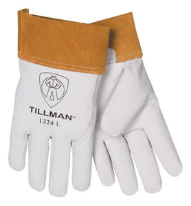 "Tillman Large Pearl Top Grain Goatskin Standard Grade TIG Welders Gloves With Wing Thumb, 4"" Cuff, Seamless Forefinger And Kevlar Lock Stitching"