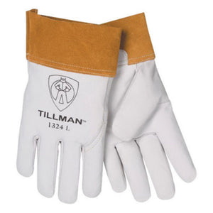 "Tillman X-Large Pearl Top Grain Goatskin Standard Grade TIG Welders Gloves With Wing Thumb, 4"" Cuff, Seamless Forefinger And Kevlar Lock Stitching"