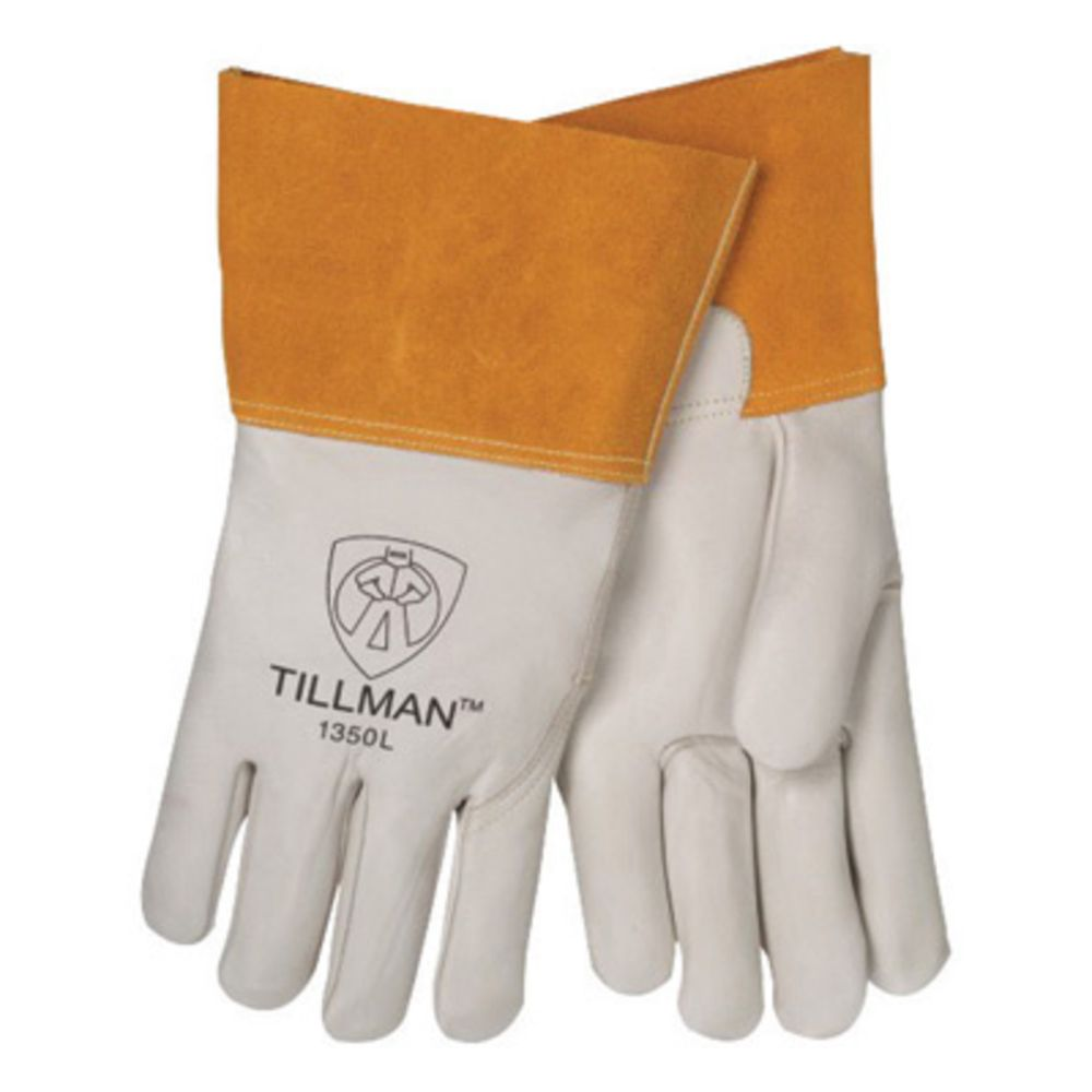 Tillman X-Large Pearl Top Grain Cowhide Unlined Standard Grade MIG Welders Gloves With Wing Thumb, 4