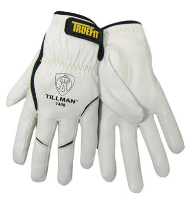 Tillman TrueFit Large Top Grain Kevlar And Goatskin Super Premium Grade TIG Welders' Glove With Elastic Cuff, V Design Thumb And Hook And Loop Closure