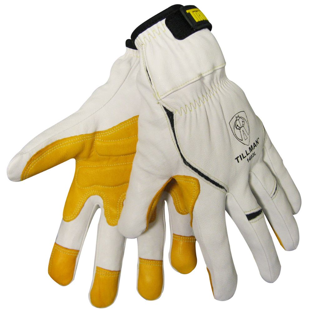 Tillman Large White TrueFit Fingertip Top grain Kevlar And Goatskin Super Premium Mechanics Gloves With Elastic Cuff, Double Reinforced Fingertips And Hook And Loop Closure