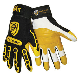 Tillman X-Large Black And Gold TrueFit Full Finger Top Grain Goatskin Super Premium Mechanics Gloves With Elastic Cuff, TPR Pads on Finger, Knuckle And Back Of Hand, Double Reinforced Fingertips