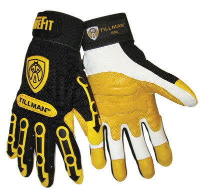 Tillman Large Black And Gold TrueFit Full Finger Top Grain Goatskin Super Premium Mechanics Gloves With Elastic Cuff, TPR Pads on Finger, Knuckle And Back Of Hand, Double Reinforced Fingertips