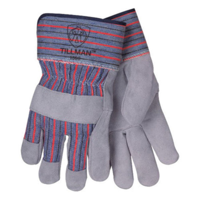 Tillman Large Blue Red And Gray Leather Palm Gloves With Rubberized Safety Cuff And Knuckle Strap