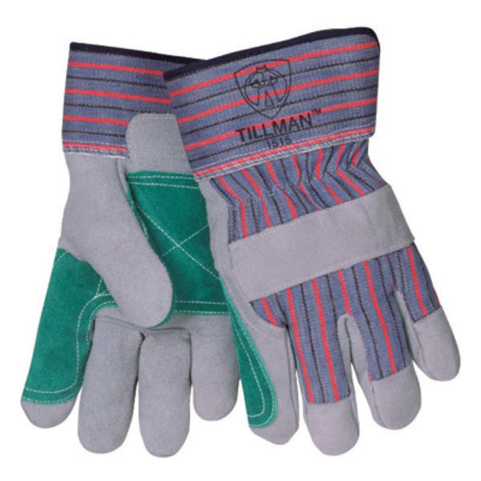 Tillman Large Blue Red Gray And Green Leather Palm Gloves With Rubberized Safety Cuff And Knuckle Strap