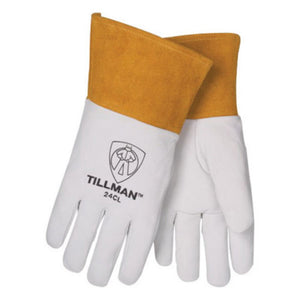 "Tillman Small Pearl Top Grain Kidskin Unlined Premium Grade TIG Welders Gloves With Straight Thumb, 4"" Cuff And Kevlar Lock Stitching"
