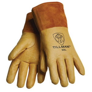 "Tillman Large Gold Top Grain Pigskin Unlined Premium Grade MIG Welders Gloves With Straight Thumb, 4"" Cuff And Kevlar Lock Stitching"