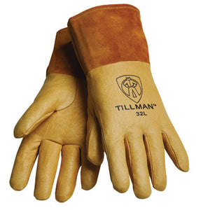 "Tillman Medium Gold Top Grain Pigskin Unlined Premium Grade MIG Welders Gloves With Straight Thumb, 4"" Cuff And Kevlar Lock Stitching"