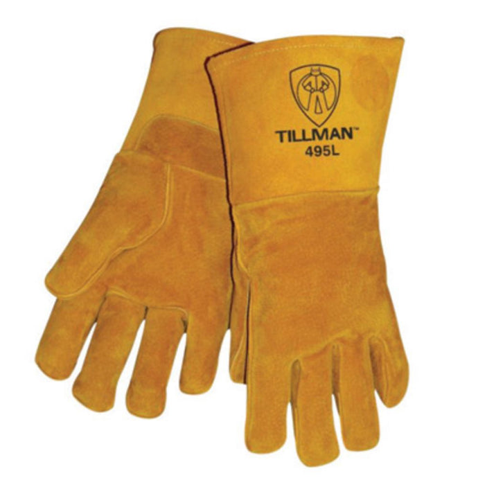 Tillman Small Gold Leather Stick Welders Gloves With Kevlar Thread Locking Stitch (Carded)