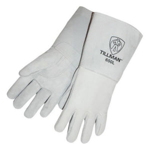 "Tillman X-Large 14"" Gray Top Grain Cowhide Cotton/Foam Lined Premium Grade Stick Welders Gloves With Reinforced Straight Thumb, Stiff Cowhide Cuff, Welted Finger And Kevlar Lock Stitching"