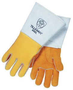 "Tillman Large 14"" Gold Top Grain Elkskin Cotton/Foam Lined Super Premium Grade Stick Welders Gloves With Reinforced Straight Thumb, Stiff Cowhide Cuff, Welted Finger, Kevlar"