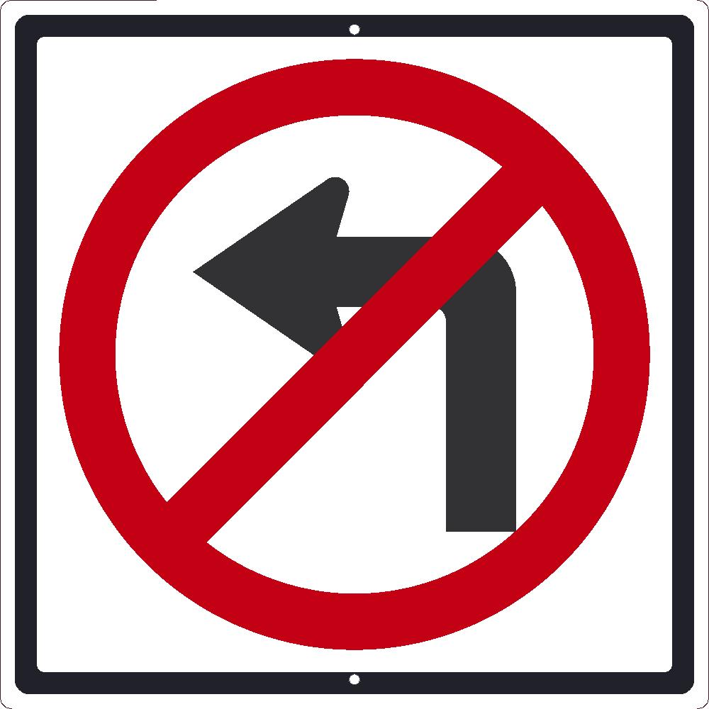 No Left Turn Graphic Traffic Sign