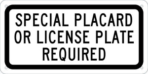 Handicapped Parking California Special License Plate Required Sign