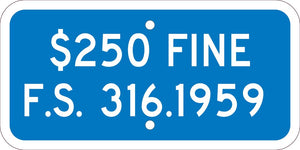 State Handicapped Parking Fine Florida Sign