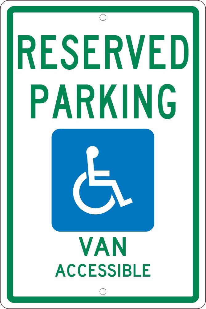 State Handicapped Reserved Parking Van Accessible Sign