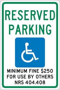 State Handicapped Reserved Parking Sign Nevada