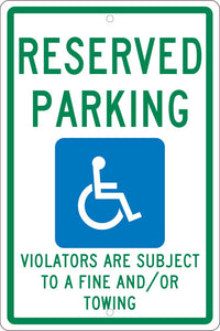 State Handicapped Reserved Parking Sign New Mexico
