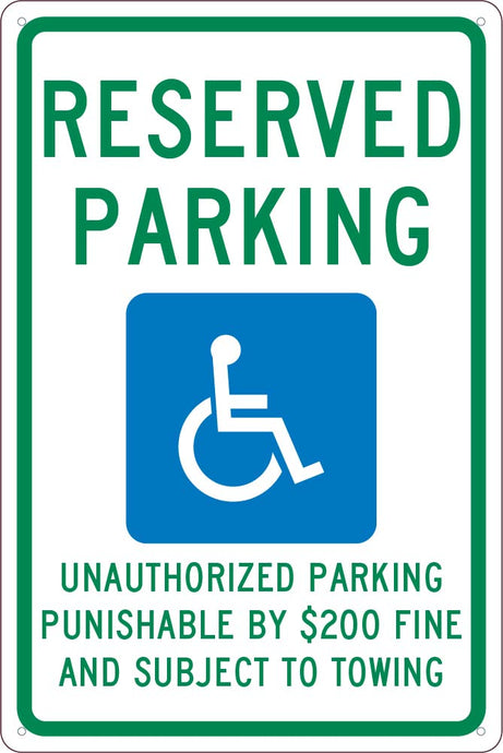 State Handicapped Reserved Parking Sign Tennessee