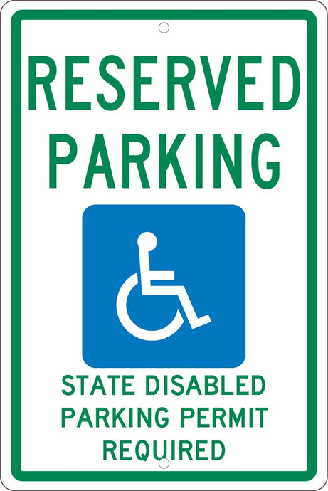 State  Handicapped  Reserved Parking Washington Sign