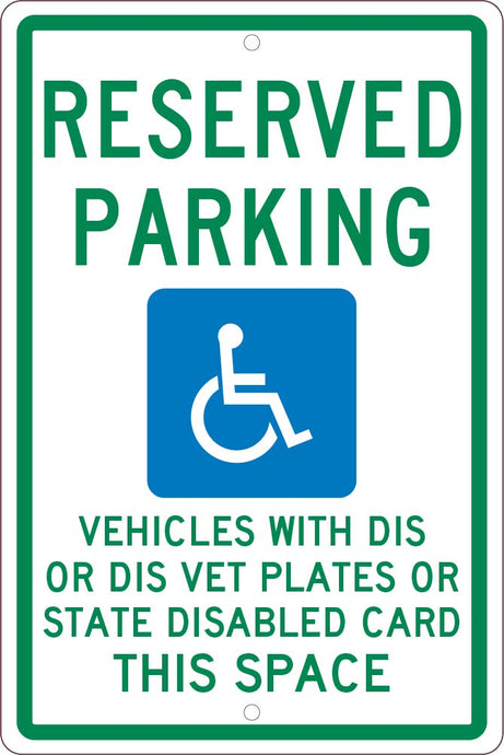State  Handicapped  Reserved Parking Wisconsin Sign