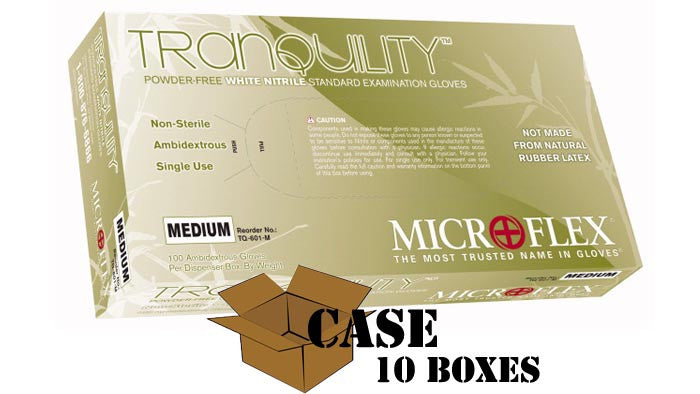 Microflex - Tranquility - Powder-Free White Nitrile Exam Gloves - Case