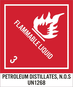 Flammable Liquid 3 Petroleum Distillates Label - Roll