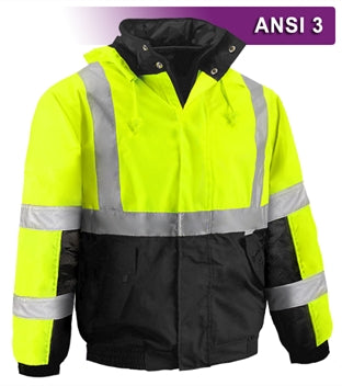 Safety Jacket: Hi Vis Bomber: Breathable Waterproof: Hood: Lime 2-Tone