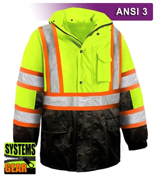 Safety DOT Jacket: Hi Vis Parka: Breathable Waterproof Hooded