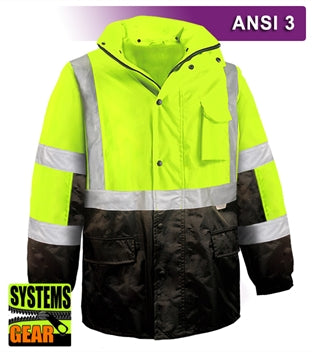 Safety Jacket: Hi Vis Parka: Breathable Waterproof Hooded: 2-Tone
