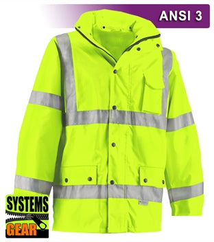 Safety Jacket: Hi Vis Parka: Breathable Waterproof Hooded