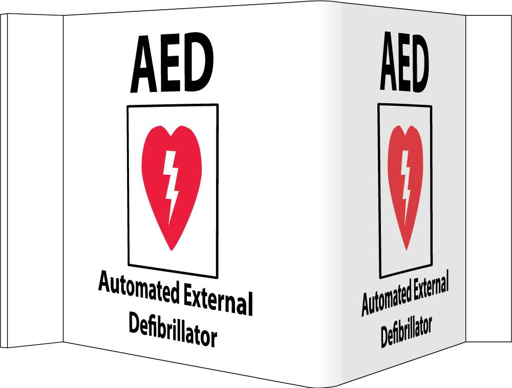 3-View Aed Automated External Defibrillator Sign