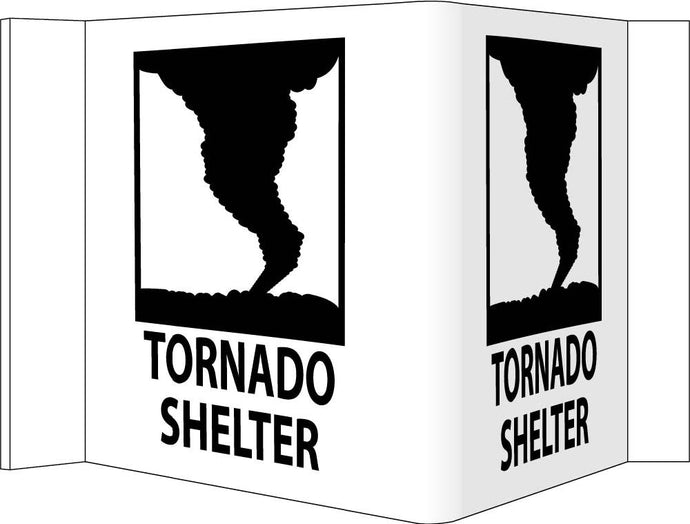 3-View Tornado Shelter Sign