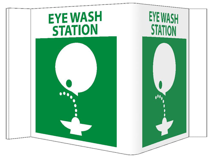 3-View Eye Wash Station Sign