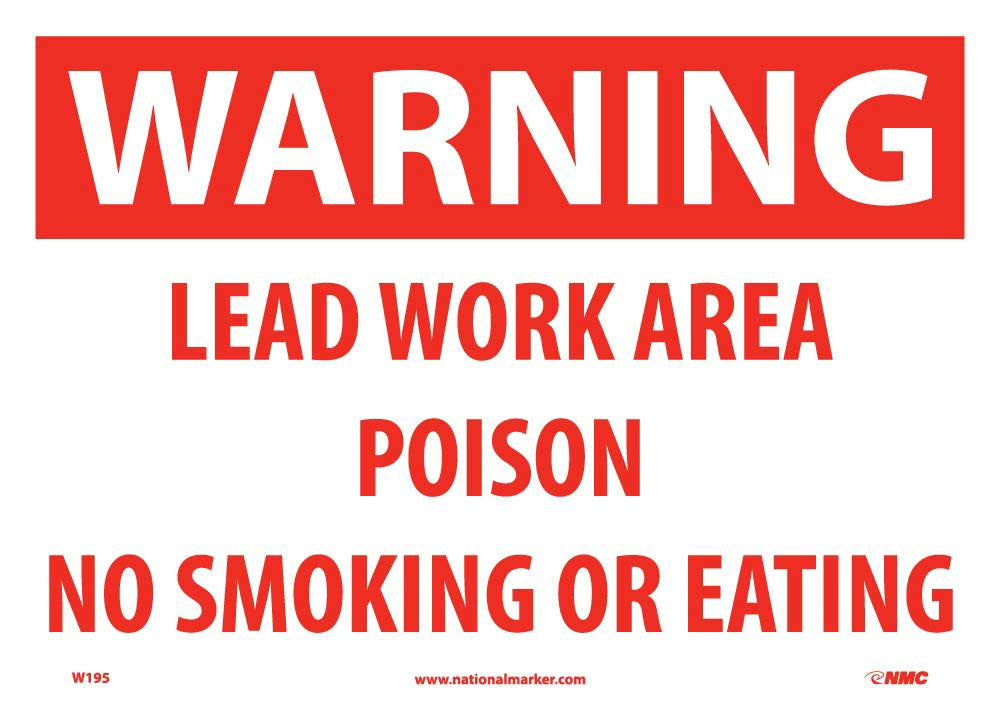 Warning Lead Work Area Sign - Pack of 100