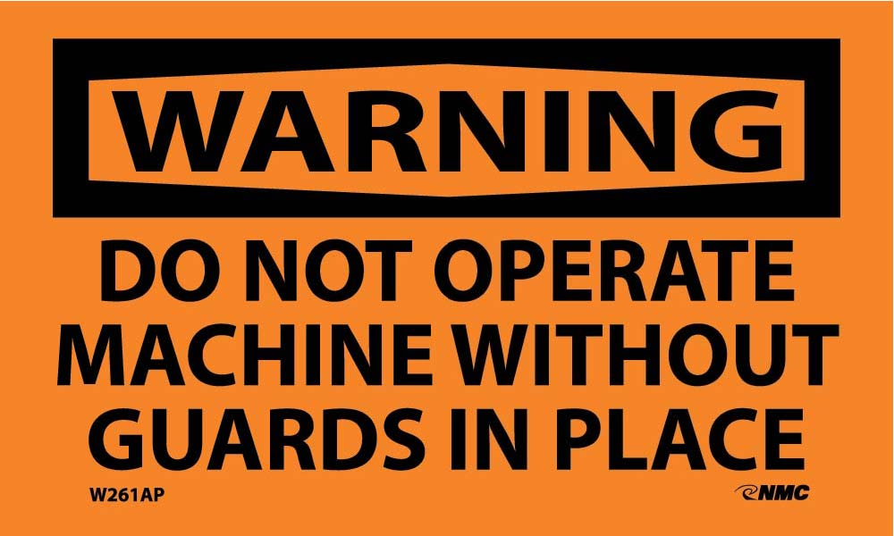 Warning Do Not Operate Machine Without Guards Label - 5 Pack