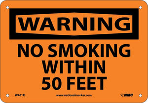 Warning No Smoking Within 50 Feet Sign