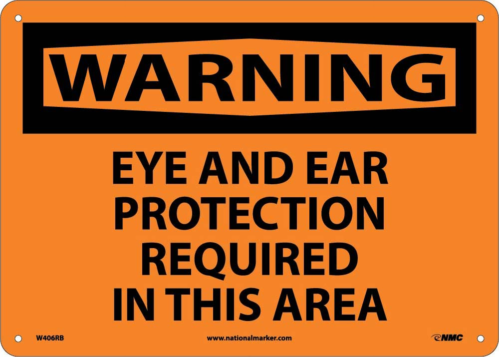 Warning Eye And Ear Protection Required Sign