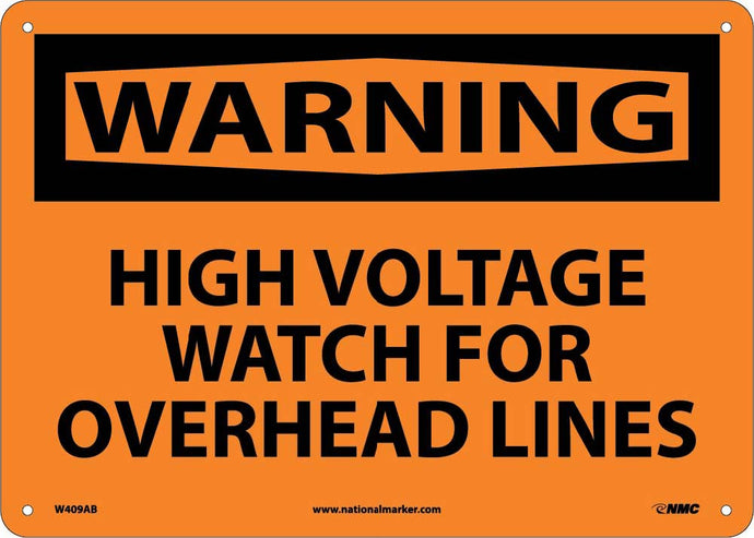 Warning High Voltage Watch For Overhead Lines Sign