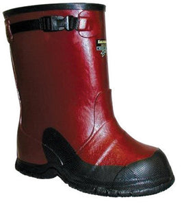 "Salisbury By Honeywell Size 10 Red 14"" Rubber 1-Buckle Overboots With Anti-Skid Bar Tread Black Outsole"