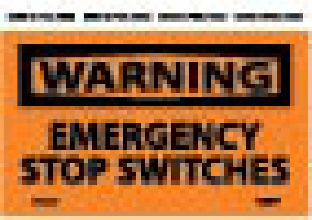 Warning Emergency Stop Switches Label - 5 Pack