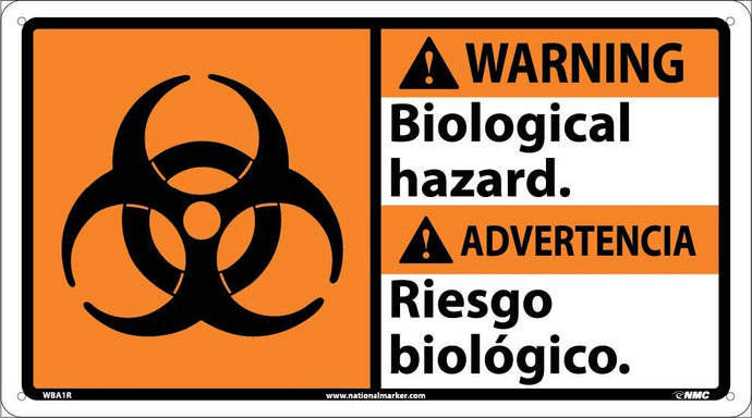 Warning Biological Hazard Sign - Bilingual