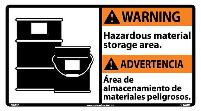 Warning Hazardous Material Storage Area Sign - Bilingual