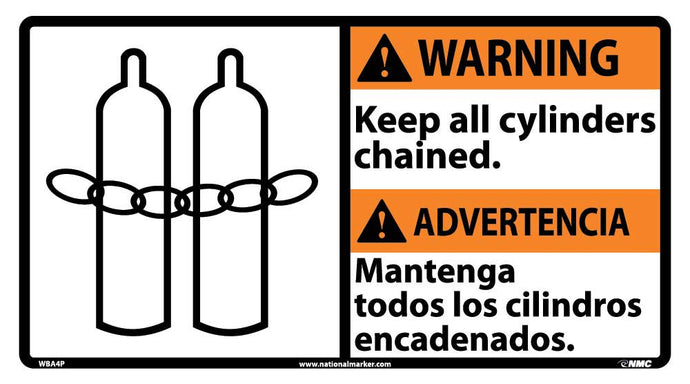 Warning Keep All Cylinders Chained Sign - Bilingual